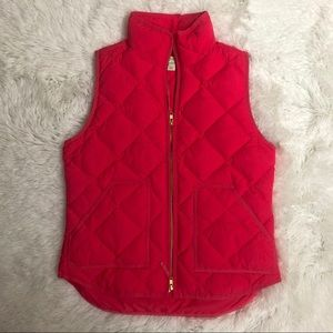 J Crew Quilted Down Puffer Vest Size Small pink